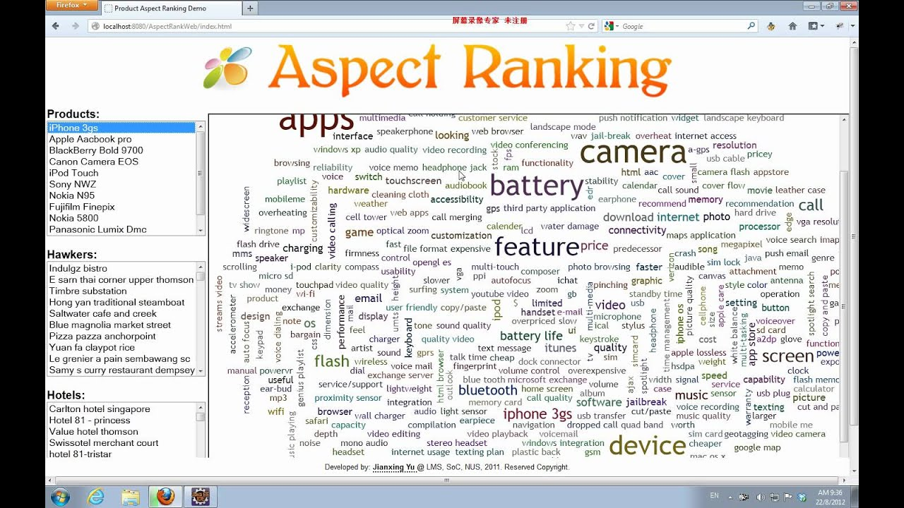 product aspect ranking and its applications