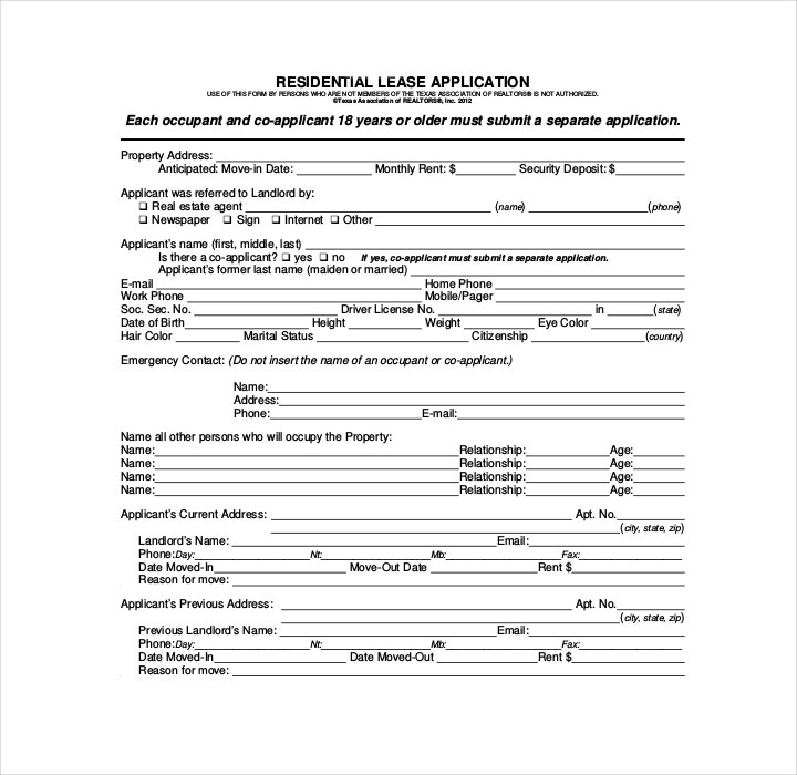 commercial tenant application form free