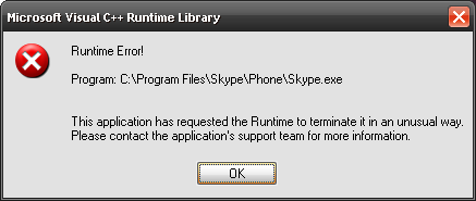this application has requested the runtime to terminate windows 7