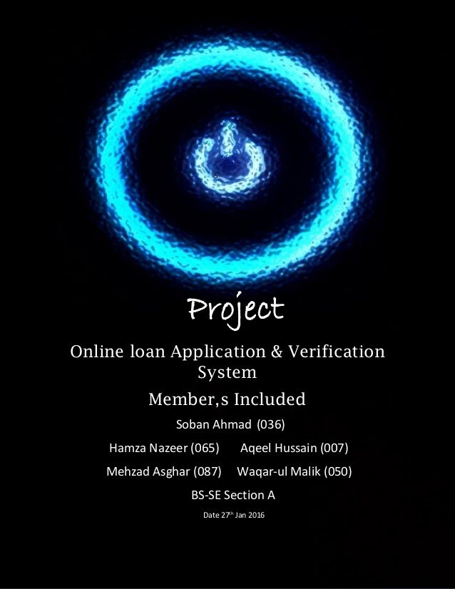 online loan application and verification system