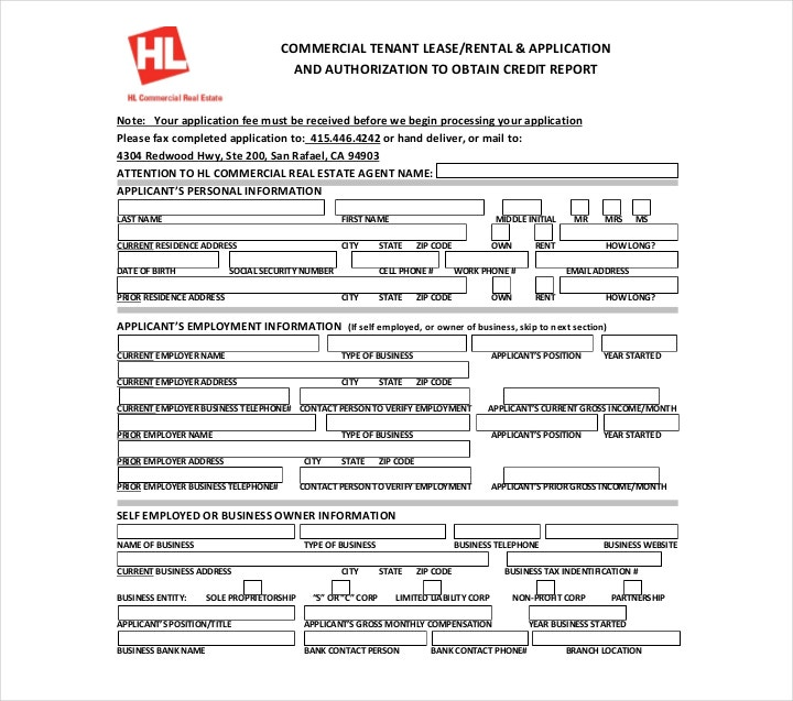 business credit application form template free